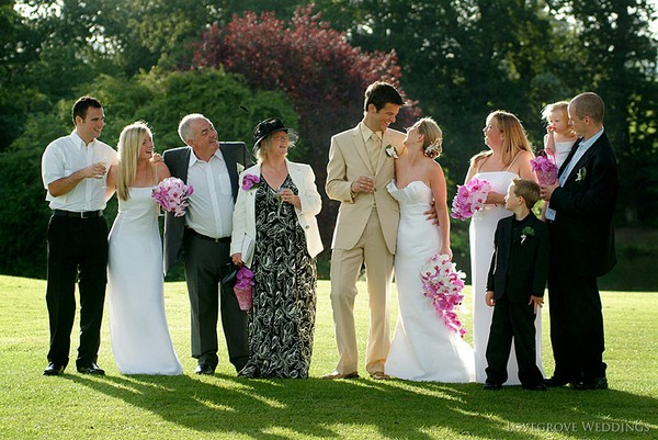Informal Group Shot of Bride, Groom and Family