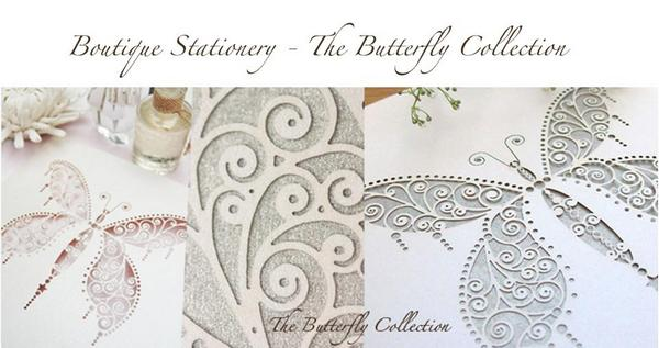 The Butterfly Collection laser-cut stationery from The Hummingbird Card Company