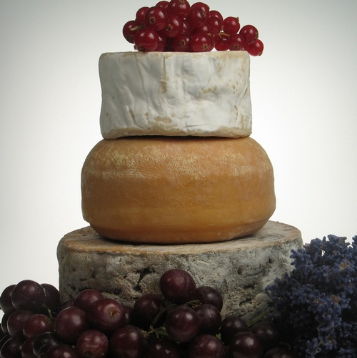 Picture of a Mini Cheese Stack Wedding Cake From The Cheese Society