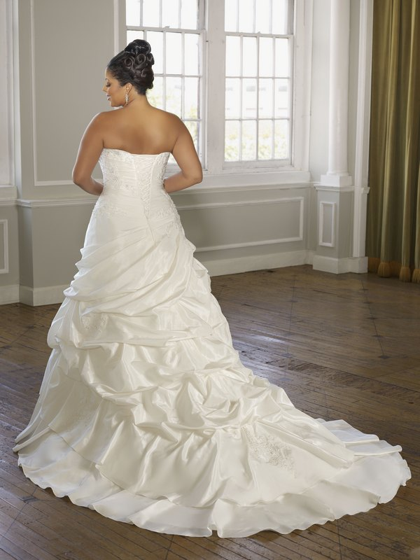 3098 radiant taffeta with alencon lace back the for Mori lee taffeta wedding dress