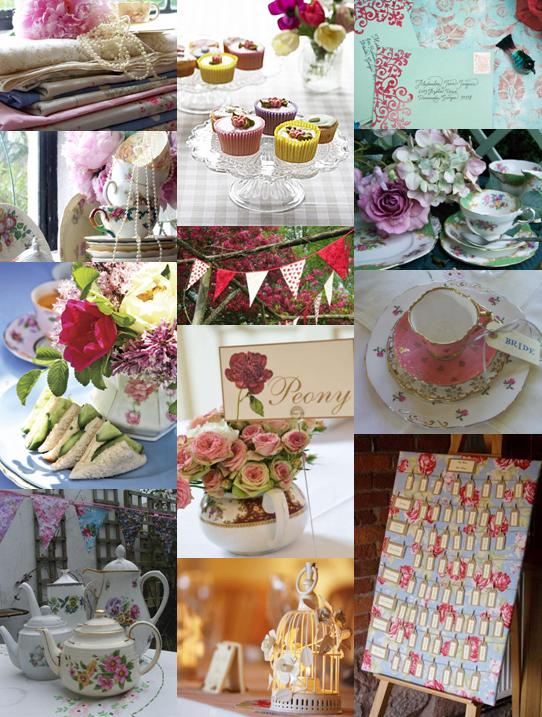 Wedding Mood Board Showing Ideas For A English Garden Party Theme