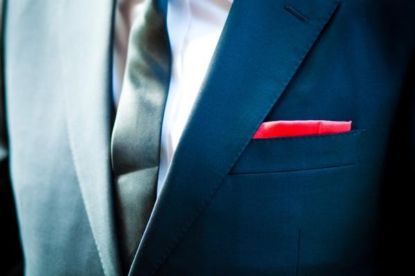 Red pocket handkerchief - Sam Gibson Wedding Photography