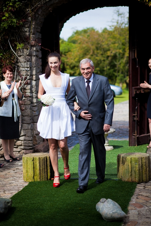 Bride and father of the bride walking down the aisle - Sam Gibson Wedding Photography