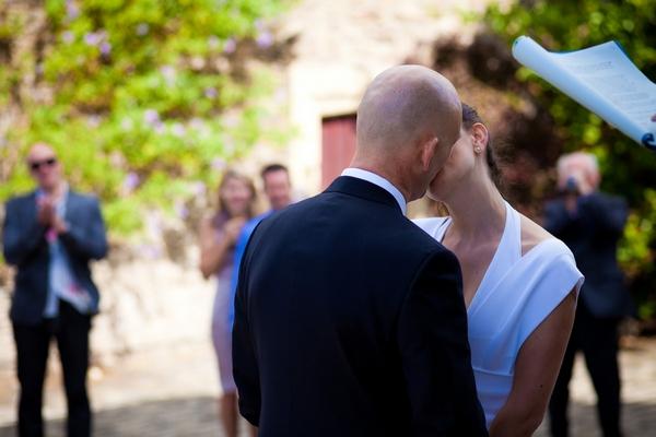 Bride and groom kissing - Sam Gibson Wedding Photography