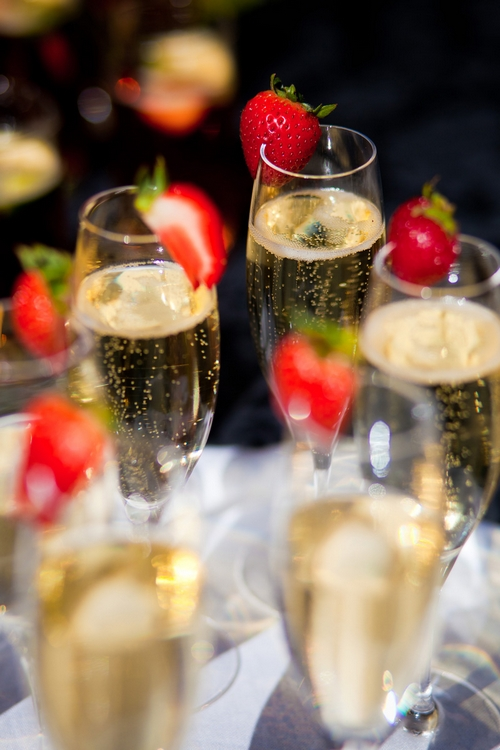 Champagne and strawberries - Sam Gibson Wedding Photography