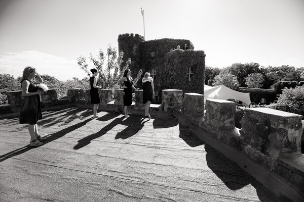 Bridesmaids at top of Walton Castle in Clevedon - Sam Gibson Wedding Photography