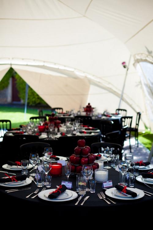Red and black wedding table display - Sam Gibson Wedding Photography