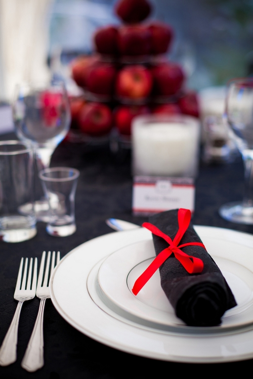 Black napkin with red bow - Sam Gibson Wedding Photography