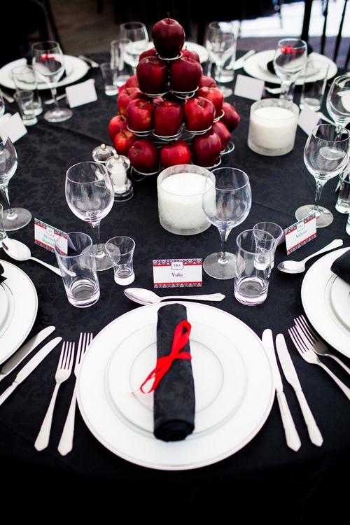 Red and black themed wedding table display - Sam Gibson Wedding Photography