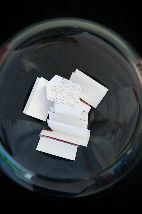 Messages in a glass bowl - Sam Gibson Wedding Photography