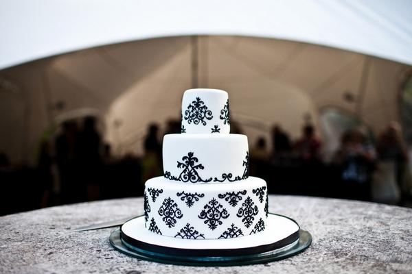 White and black 3 tier wedding cake - Sam Gibson Wedding Photography