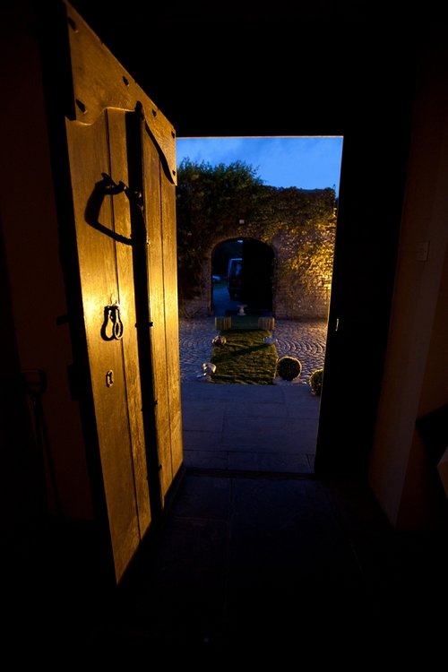 Door looking out of Walton Castle in Clevedon - Sam Gibson Wedding Photography