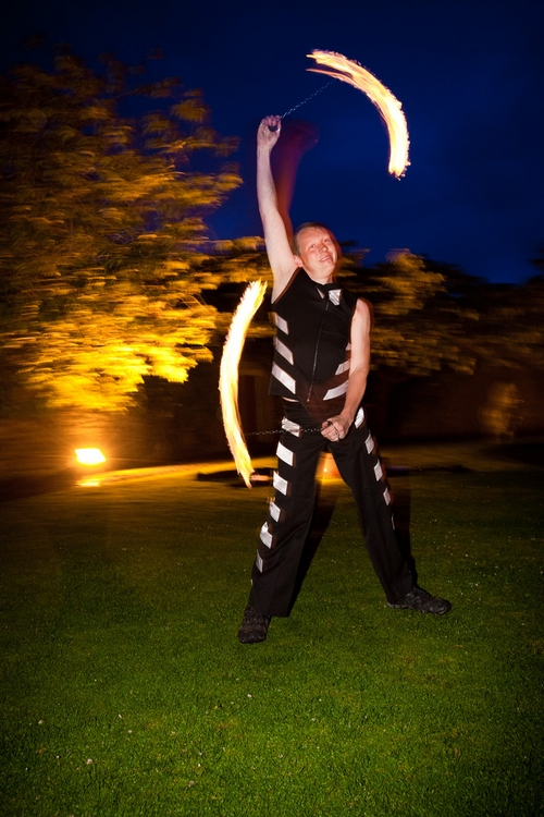 Fire dancer at Walton Castle in Clevedon - Sam Gibson Wedding Photography
