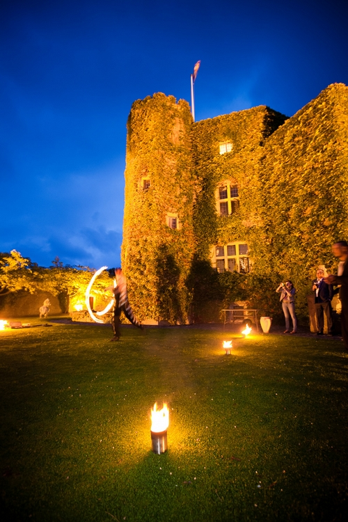 Fire dancing at Walton Castle in Clevedon - Sam Gibson Wedding Photography