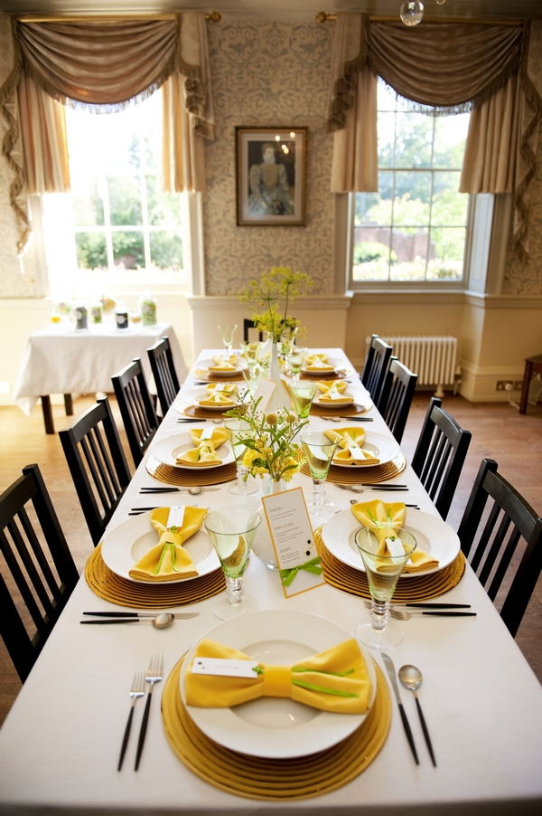 Looking down a yellow and lime green themed table arrangement - Good Day Sunshine Bridal Shoot