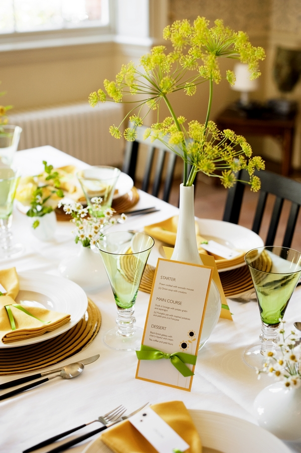 Table set with yellow and lime green decorations - Good Day Sunshine Bridal Shoot
