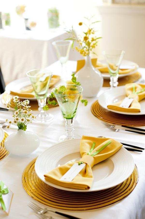 Yellow and lime green glasses and napkins - Good Day Sunshine Bridal Shoot