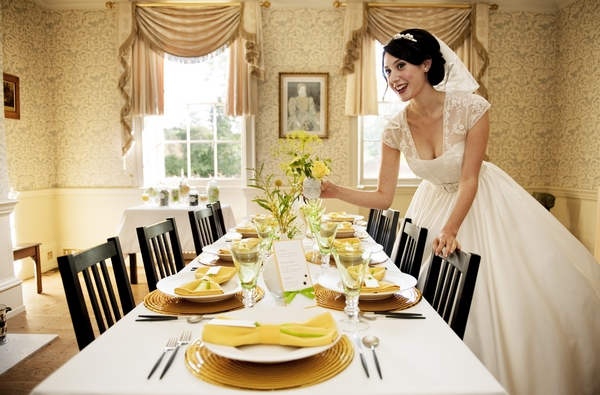 Bride with yellow and green themed table layout - Good Day Sunshine Bridal Shoot