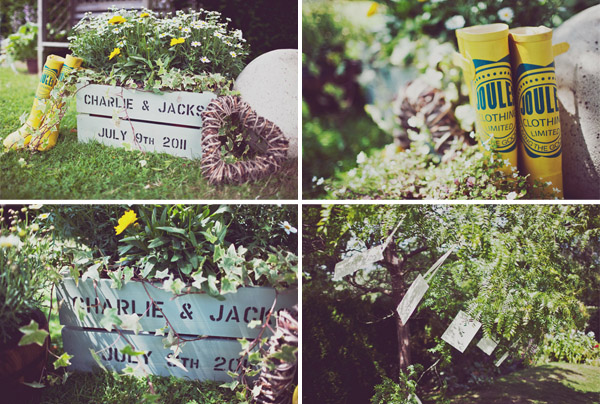 Garden party wedding signs