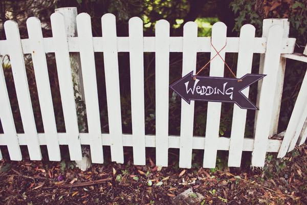 Wedding arrow on a fence