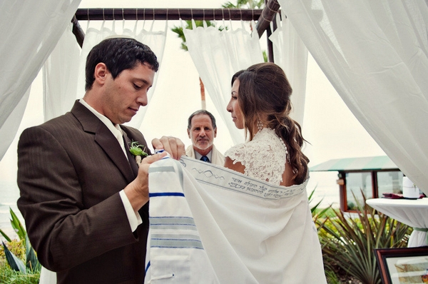 Groom placing Chuppah around bride - Picture by Captured by Aimee