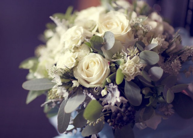 White rose bridal bouquet - Picture by Laura McCluskey Photography