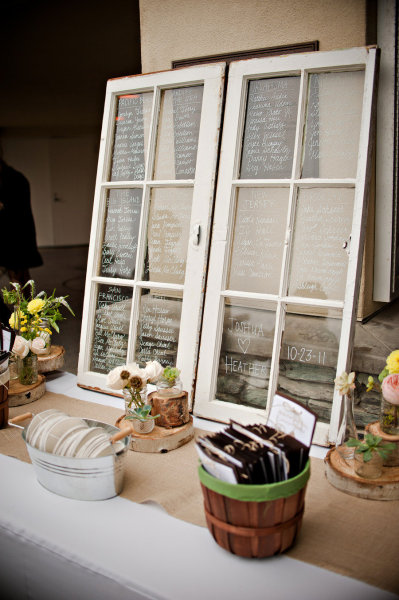 Wedding table plan written on windows - Picture by Captured by Aimee