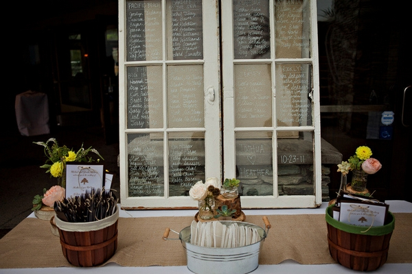 Wedding seating plan written on windows - Picture by Captured by Aimee
