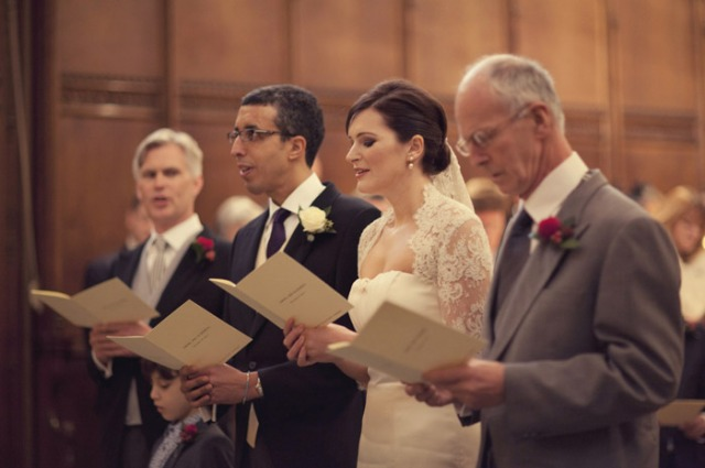 Hymns during wedding service - Picture by Laura McCluskey Photography