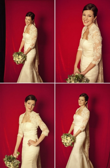 Bride standing with red background - Picture by Laura McCluskey Photography