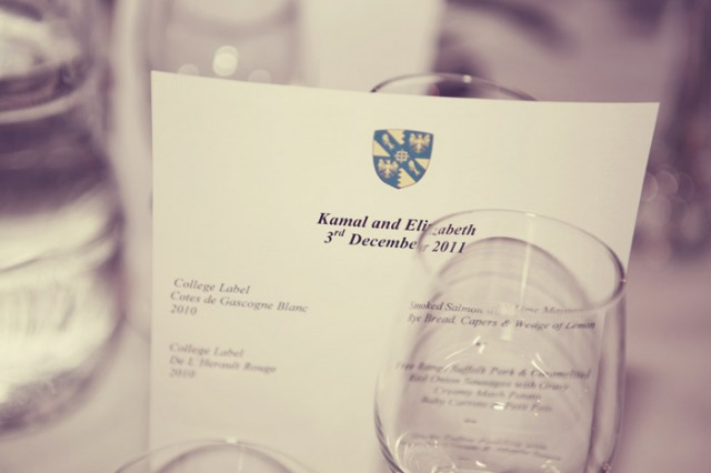 Wedding menu - Picture by Laura McCluskey Photography