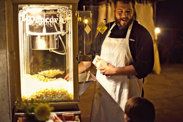 Popcorn machine at wedding - Picture by Captured by Aimee
