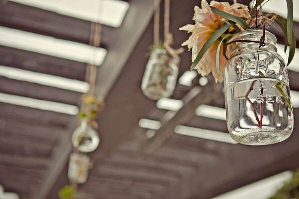Hanging jam jar of flowers - Picture by Captured by Aimee