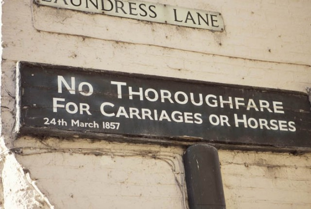 No Throughfare For Carriages or Horses Sign - Picture by Laura McCluskey Photography