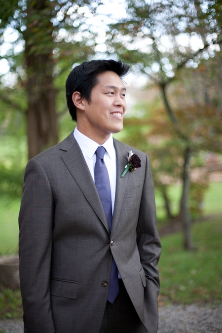 Groom wearing purple tie - Picture by Levi Stolove Photography