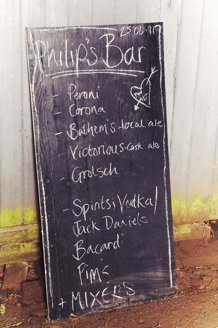 Chalk written bar drink list - Picture by Ian Shoots Weddings