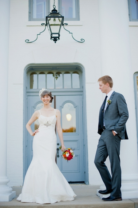 Bride and groom outside Wilder Mansion - Picture by Rojo Foto Design