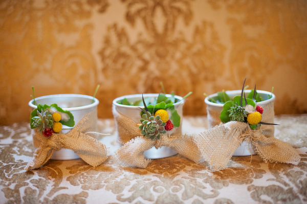Succulent wedding decoration pots - Picture by Rojo Foto Design