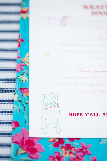 Dog picture on wedding menu - Picture by Laura Ivanova Photography
