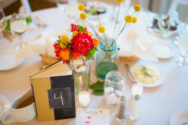 Wedding breakfast table with book table number - Picture by Rojo Foto Design