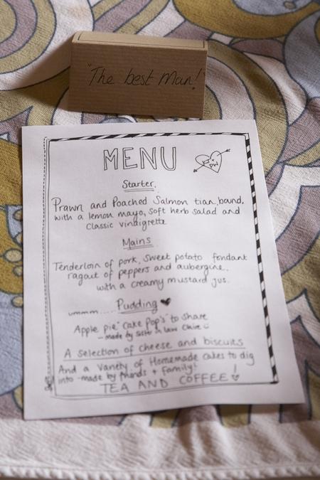 Hand written wedding menu - Picture by Ian Shoots Weddings