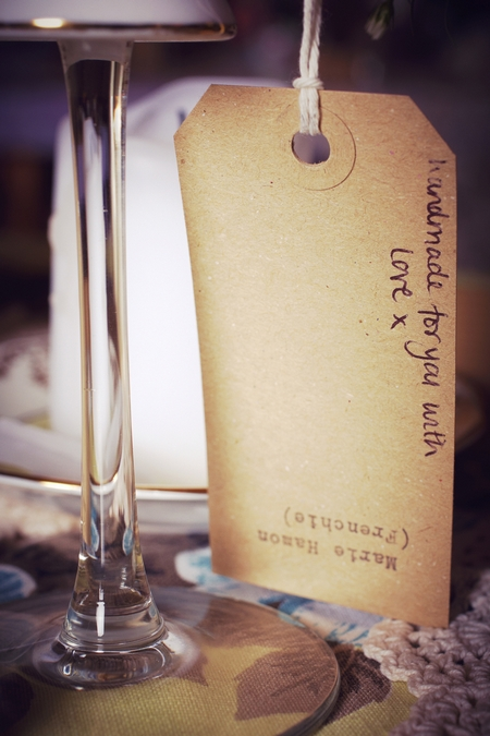 'Handmade with love for you' label - Picture by Ian Shoots Weddings