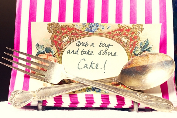 Fork, spoon and cake sign - Picture by Ian Shoots Weddings