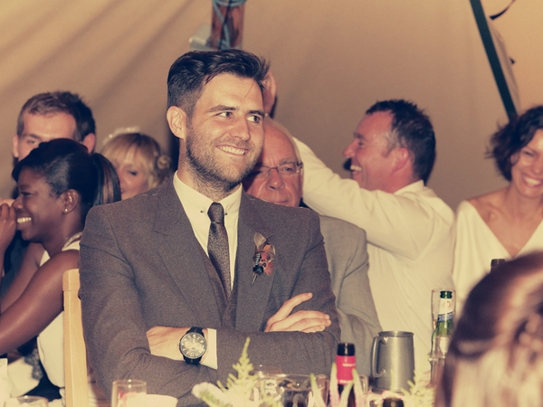 Groom smiling at wedding speech - Picture by Ian Shoots Weddings