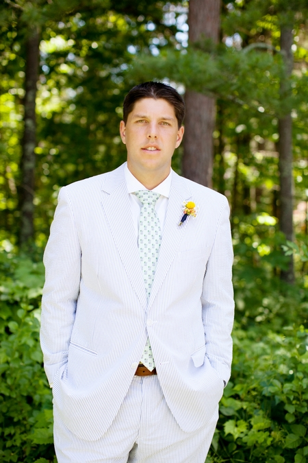 Groom wearing pale blue striped suit - Picture by Laura Ivanova Photography