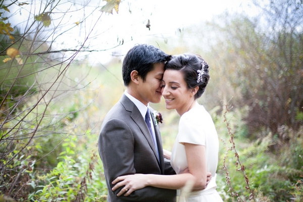 Bride and groom at a Beautiful Autumn Wedding in New Jersey - Picture by Levi Stolove Photography