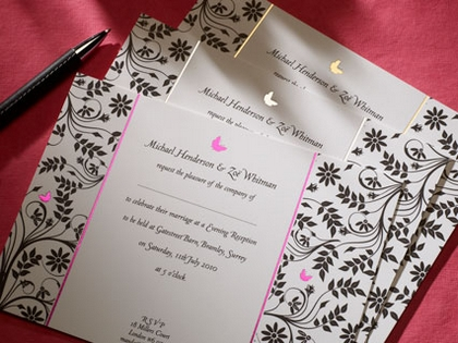 Butterfly wedding stationery from The Letter Press of Cirencester