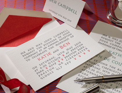 DeCourcy wedding stationery from The Letter Press of Cirencester