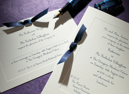 Imperial wedding stationery by The Letter Press of Cirencester