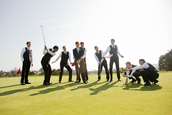 Groomsmen playing golf - Picture by Allyson Magda Photography